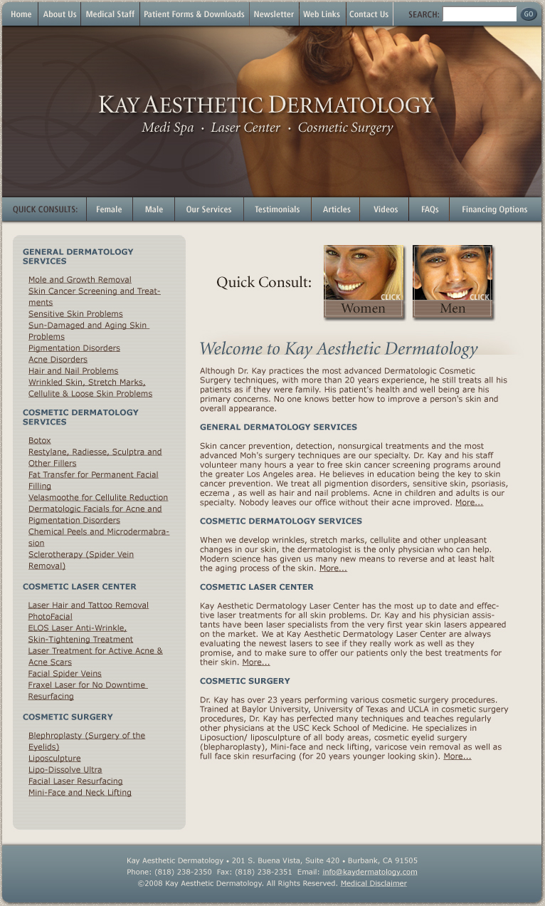 Plastic Surgery and Dermatology Skin Website