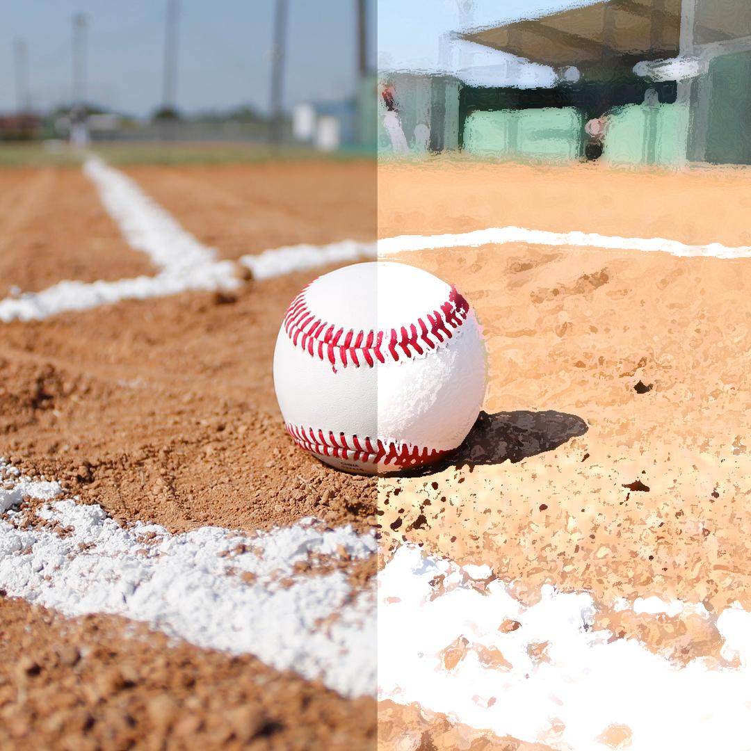 Split screen of baseball field